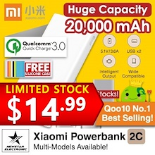 100% Authentic ★Xiaomi Powerbank 2C  2018 LATEST!!★  and other capacity !  [Qoo10 Best Se