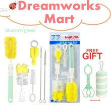 6-in-1 Baby Feeding Bottle Brush Set [Green | Macaron Green | Macaron Pink]