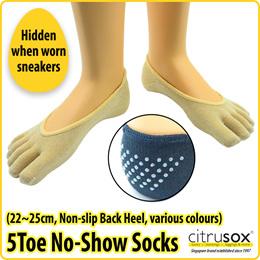 [Citrusox] Women No-Show Toe Socks (hidden with Sneakers)