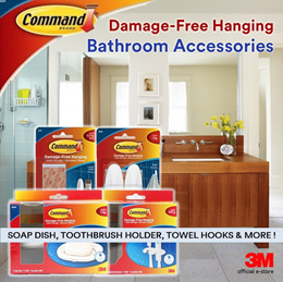 [Official E-Store] Command™ Bath Accessories- Toothbrush Holder / Soap Dish / Water Resistant Strips