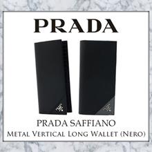 Prada Saffiano Metal Vertical Long Wallet (Available in 2 Colours: Nero / Nero-Mercurio)