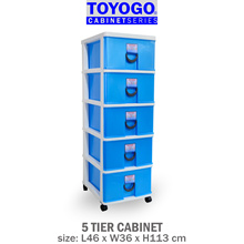 [803-5] TOYOGO - PLASTIC STORAGE CABINET/DRAWER WITH WHEELS (5 TIER OPTIONS)