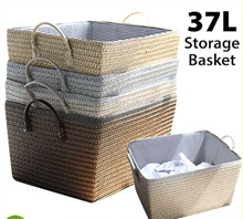 [AG] 37L Storage Basket with Handle ★ Retro Vintage Design ★ Grey / Black / Khaki