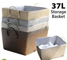 [AG] 37L Storage Basket with Handle ★ Retro Vintage Design ★ Grey / Black / Khaki
