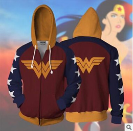 Wonder Woman Bomber Jacket Autumn and Winter Womens Classic Solid Zip Up Jacket Wind Coat