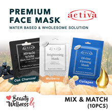 💎Buy 5 FREE 5 💎 Activa Premium Facial Mask 10 Sheets - Black Peel Off/Brightening/Collagen Mask