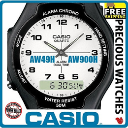 [THE LOWEST PRICE PROVEN IN SG] CASIO AW49H AND AW90H MENS CLASSIC DIGITAL ANALOG CASUAL WATCH 50M DUAL TIME ALARM NEW!! FREE SHIPPING!!!
