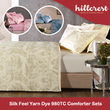 Hillcrest Silk Feel Yarn Dye 980TC Comforter Set with bedsheet pillow bolster case