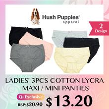 HUSH PUPPIES 3PCS LADIES MAXI PANTIES   COTT LYCRA   #009783   #009796