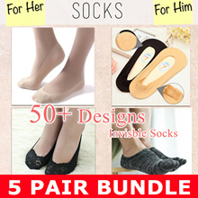 ★ 5 PAIR BUNDL★$CHEAPEST IN QOO10 NEW DESIGNS Socks★ MEN WOMEN SOCKS / Invisible Socks Fast DELIVERY