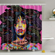Bathroom Shower Curtains Hanging Decor Waterproof Bathroom African Woman Shower Curtain Polyester Fa