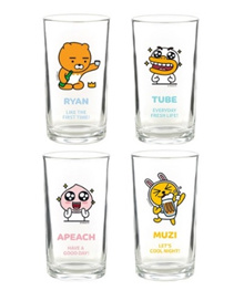 [Kakao Friends] Print Glass Cup Soju N Beer 255ml 4PCS, Cute Design For Home and Kitchen, Gift