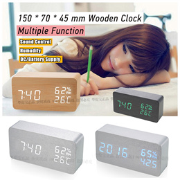 2017 New Wood Clock Humidity Temperture Sound Contorl Alarm Time Desk Wooden Clocks Watch
