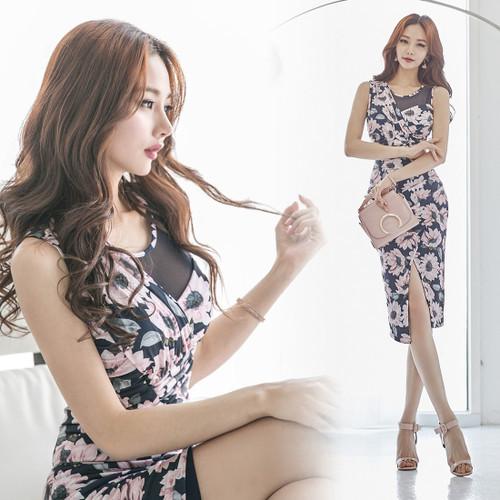 新しい印刷スリムラウンドネックドレスステッチパッケージヒップの女性のセクシーな女性の2017韓国語バージョンOL韓国ファッション/ワンピース/花柄ワンピース/Vネックワンピース