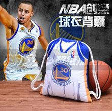 50 × 40cm large rope NBA Warriors Curry Thompson home and away jersey backpack Drawstring Backpack-n