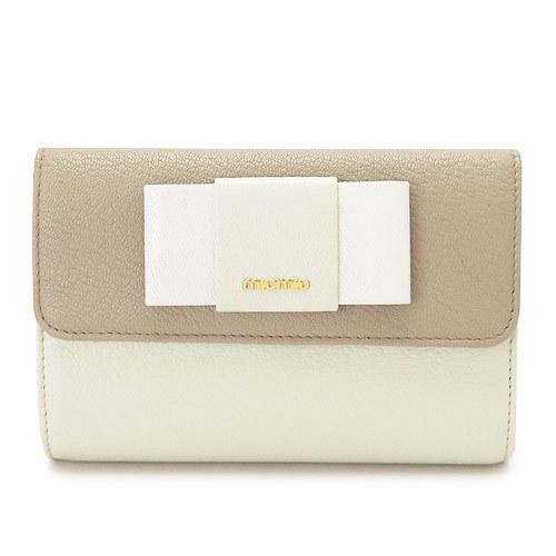 df0b5aa02175 Qoo10 - Miu Miu fold wallet MIUMIU 5ML225 MADRAS FIOCCO C ...