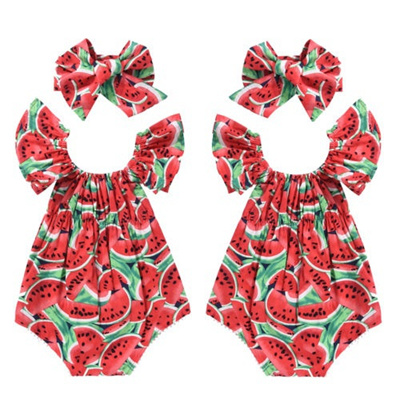 1862795496c6 Toddler Baby Girls Watermelon Clothes Outfits Jumpsuit Romper+Headband  Playsuit