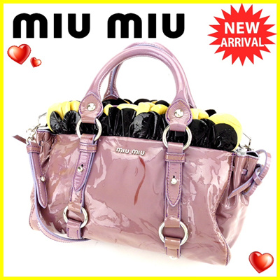 37cfc8e4f311 Miu Miu miu miu 2 WAY shoulder bag handbag ladies ruffled purple × silver  enamel leather