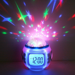 Room Sky Star Night Light Projector Lamp Bedroom Music Alarm Clock (Color: White)