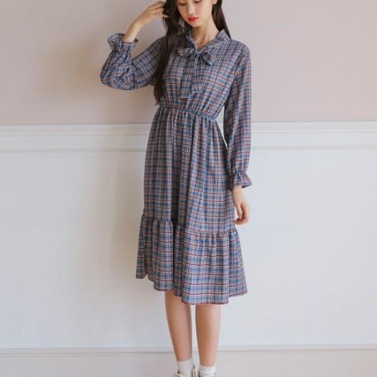 ウィドゥイプンウォッチバンディングロングワンピース 綿ワンピース/ 韓国ファッション