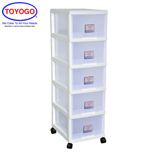 Toyogo Plastic Storage Cabinet / Drawer With Wheels (5 Tier) (802-5)
