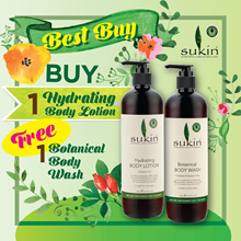 [Sukin] 1 + 1 Botanical Body Wash and Hydrating Body Lotion 500ml