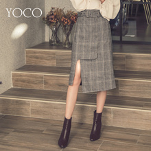 YOCO - Plaid Belted Skirt-172748-Winter