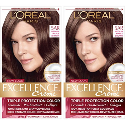 Loreal Paris Excellence Creme Permanent Hair Color 5ar Medium Maple Brown 2 Count 100 Gray Cover