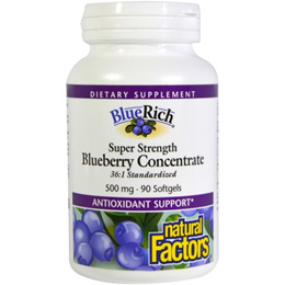 Natural Factors BlueRich Super Strength Blueberry Concentrate 500 mg 90 Softgels