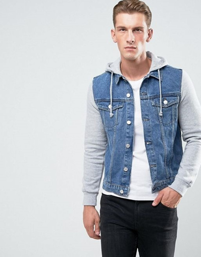 3e7224fed27 Qoo10 - New Look Denim Jacket With Jersey Sleeves In Mid Wash ...