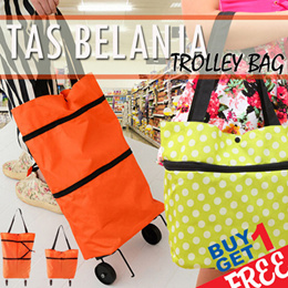 BUY 1 GET 1/ Tas Belanja Trolley Bag/ Troli Lipat / Troly Shopping Foldable Cart/ Tas Koper Tote / trolley bag