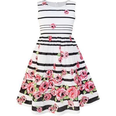 ec59190b7bb99 Sunny Fashion Girls Dress Purple Rose Flower Double Bow Tie Party Kids  Sundress 2018 Summer Princess