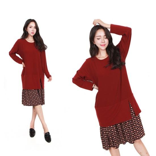 HスタイルBTミラノロングOPSビッグサイズワンピースロングワンピースカジュアルワンピース プリントのワンピース/ 韓国ファッション