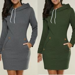 Womens Sweater Dress Ladies Plus Size Hooded Sweatshirt Long Sleeve Sweater Hoodies Jumper Mini Dres
