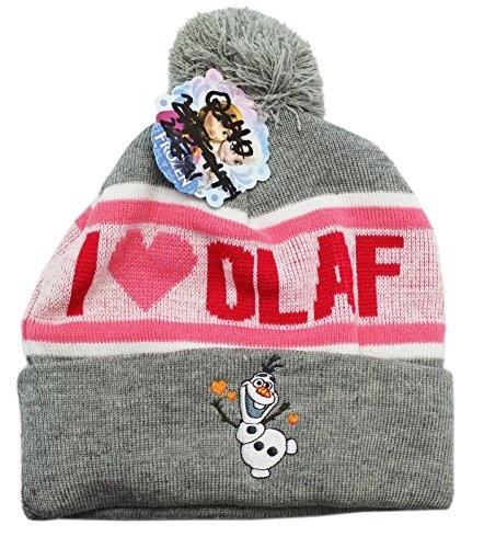 80787ad4abaf3 actual size. prev next. Disney Frozen I Love Olaf Women Ladies Cuffed Pom  Beanie Knit Hat Heather Winter