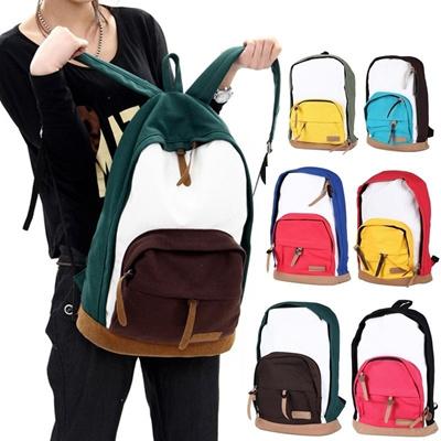 Men Women Girl Canvas Bag Color Block Schoolbag Satchel Travelling Backpack Rucksack Unisex