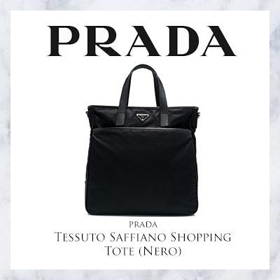 d9ccf4656e4b44 Qoo10 - Prada Tessuto Saffiano Shopping Tote (Nero) : Bag & Wallet