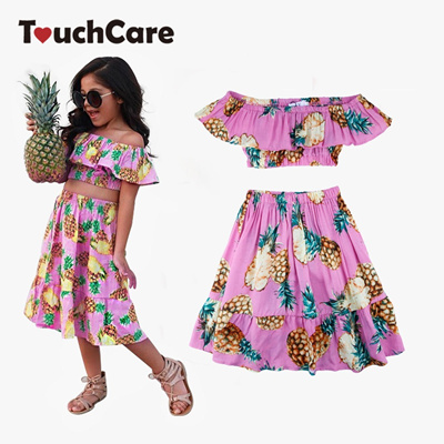 bcffad0687e1f 2 PCS Set Summer Baby Girls Clothing Set Pineapple Print Off Shoulder  Top+Skirt