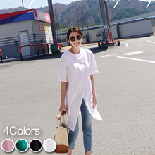 [mayblue] ★Free Shipping★💖Faux Wrap Long T-Shirt