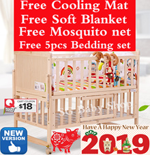 *FREE*Baby cot*Bed*Cot*Baby bed*Babycot*bedding*Playpen*Solid Wood*Mosquito Net*New born