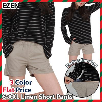 feec575fccd  EZEN  3Color Women Casual Linen Short   Perfact Banding Pants   Plus Size