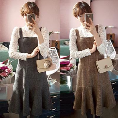 [leelin] お出掛けワンピース♡着ていて楽ちん&大人可愛い暖かいウール10%チェックフレアワンピース