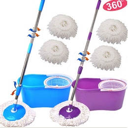 Microfiber Magic Mop with Bucket 2 Heads Rotating 360°Easy Floor Mop