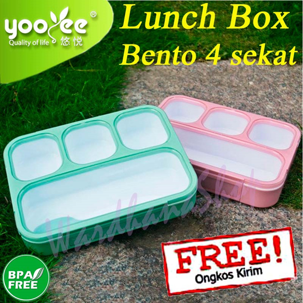 YooYee Grid Lunch Box Bento 4sekat Deals for only Rp88.000 instead of Rp88.000