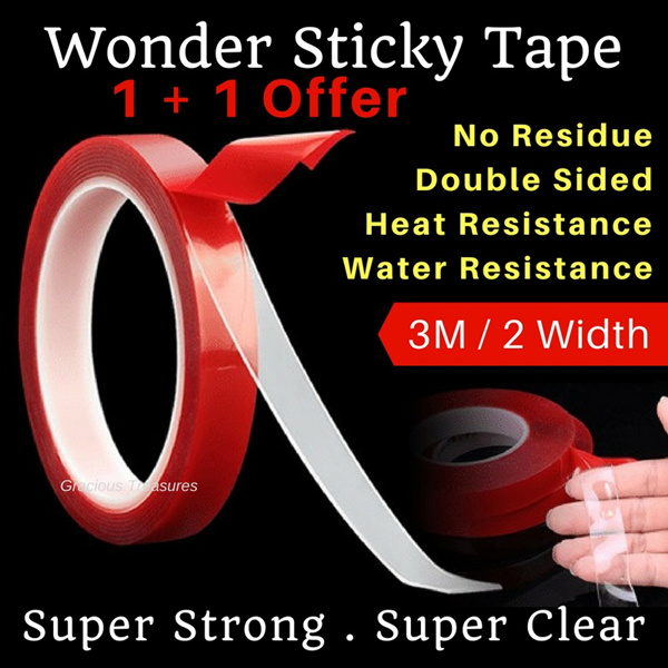 Wonder Sticky Double Sided Tape Super Strong bond Leave no residue water resistance heat resistance Deals for only S$19.9 instead of S$0