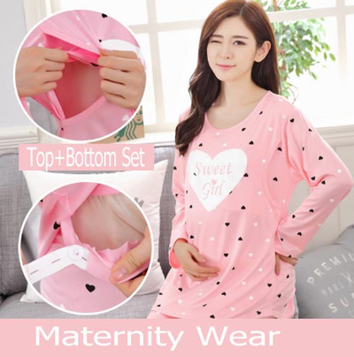 a5300d03eae33 ☆Maternity Wear Cute Confinement Pajamas Top+Bottom dress breastfeeding  clothes postpartum Pregnant