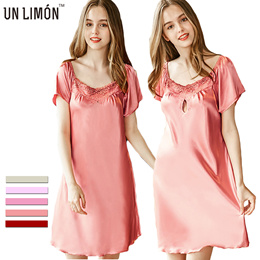 d985c7e110 UNLIMON Womens Nighties Silk Nightgown M~4XL Nightgowns Satin Nightgown  Ladies Night Dress