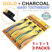 [Super Deal] 1 + 1 + 1 Offer 3 Packs 12 Toothbrushes Gold and Charcoal Nano Toothbrush Best of Both