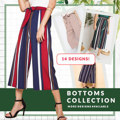 OOTDElastic Waist Culottes Print Plain colour ★★CRAZY PRICE/Culottes/Lounge wear/Everyday wear/Ladies