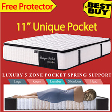 UNIQUE POCKET* 5 Zone Individually Pocketed Spring Mattress * Pillow Plus Top Layer * Free Protector